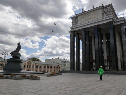 Vista de la fachada de la Biblioteca Nacional en Moscú el 13 de mayo de 2020.