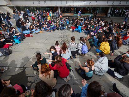 Protesta de alumnos del Institut del Teatre.