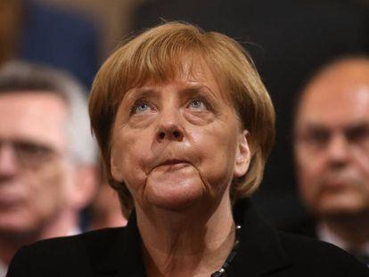 Merkel durante el homenaje a las víctimas del tiroteo en Múnich.