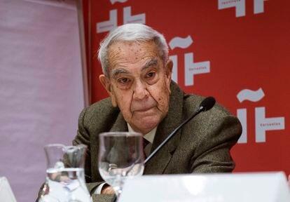 Jorge Cela Trulock, en 2016, durante la presentación de los actos del centenario del nacimiento de su hermano Camilo José Cela.