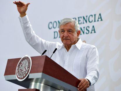 El presidente mexicano, Andrés Manuel López Obrador, en su rueda de prensa matutina el pasado viernes en Villahermosa (Tabasco).