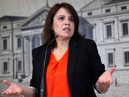La vicesecretaria general del PSOE, Adriana Lastra, durante una conferencia de prensa, este miércoles 8 de mayo.