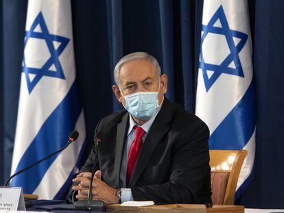 El primer ministro israelí, Benjamín Netanyahu, en la reunión del Gobierno del domingo.