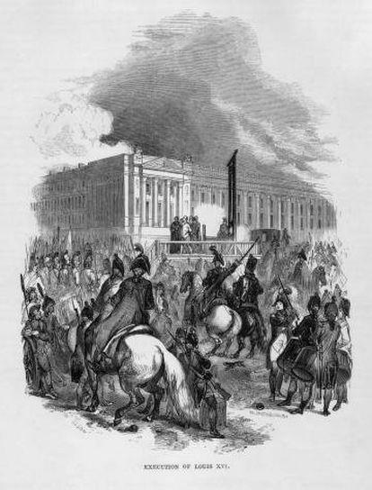 Gravado que representa la ejecución de Luis XVI en 1793.