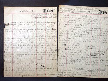 Manuscrito del cuento de Jorge Luis Borges La biblioteca de Babel.