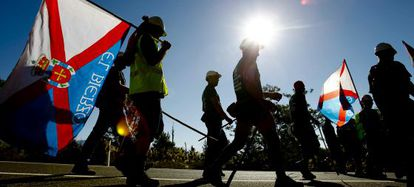 La 'marcha negra' de mineros, a su llegada a Villalba (Madrid).