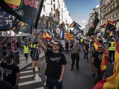 Manifestación de extrema derecha y neonazis en el centro de Madrid, este sábado.