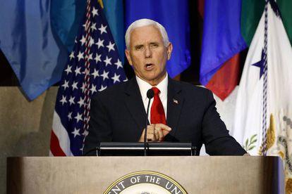 Mike Pence, durante su charla en la Conferencia de las Américas.