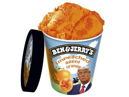 Impeached Agent Orange es un helado de naranja y melocotón inspirado en Trump. Nos lo hemos inventado.