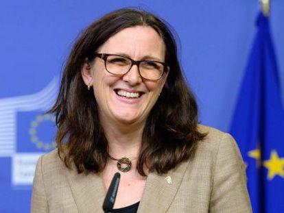 Cecilia Malmström, en 2019, poco antes de dejar el cargo de comisaria de Comercio de la UE.