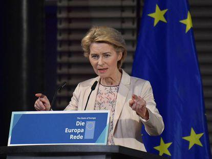 Ursula von der Leyen, este viernes durante su discurso en Berlín.