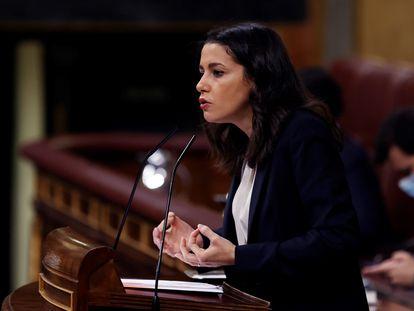 La presidenta de Ciudadanos, Inés Arrimadas, durante el debate a la totalidad de los Presupuestos de 2021, este jueves en el Congreso.