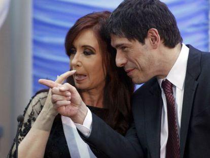 La presidenta Cristina Fernández con su jefe de Gabinete, Juan Manuel Abal.
