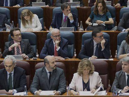 Parte de la bancada del PP en la Asamblea de Madrid.