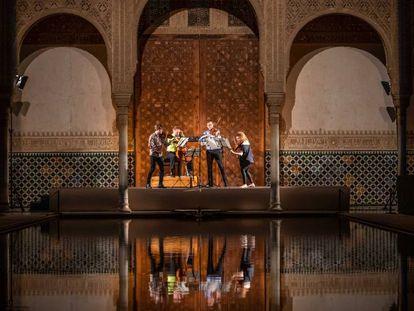 El Cuarteto Meta4 durante su concierto en el Patio de los Arrayanes.
