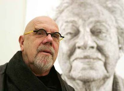 El artista Chuck Close, en el Museo Nacional Centro de Arte Reina Sofia.