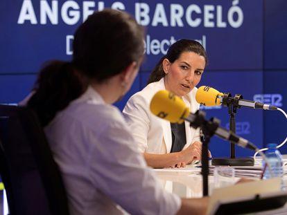 Rocío Monasterio se dirige a Pablo Iglesias en un momento del debate entre candidatos a la presidencia de la Comunidad de Madrid organizado este viernes por la Cadena SER.