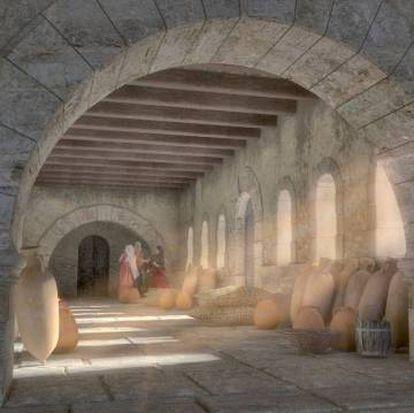 Reconstrucción de la planta interior del palacio de Ribarroja.