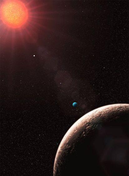 Ilustración del sistema planetario de la estrella Gliese 581.