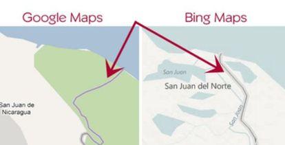 Google Maps atribuye a Nicaragua territorio de Costa Rica.