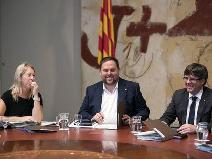 Munté, Junqueras y Puigdemont este martes.
