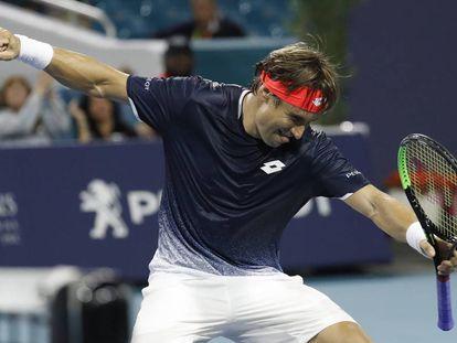 Ferrer celebra su triunfo contra Zverev en Miami.