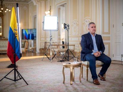 El presidente de Colombia Iván Duque, durante una entrevista con EL PAÍS en el Palacio de Nariño en Bogotá el 30 de mayo de 2021.