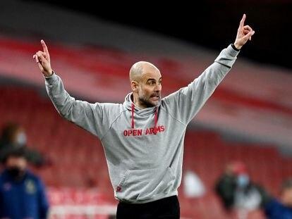 Pep Guardiola, en un partido de la Premier entre el City y el Arsenal.