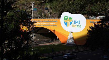 Mural de bienvenida a la JMJ en Río de Janeiro.