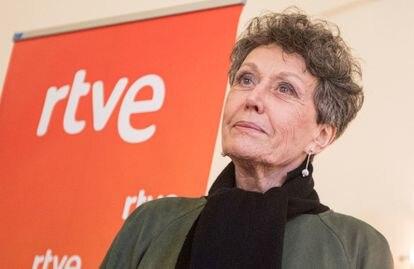 La administradora provisional única de RTVE, Rosa María Mateo, en Barcelona con ocasión del 60º aniversario del Centro de Producción de TVE en Cataluña, en 2019.