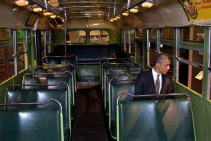 Obama en el autobús de Rosa Parks-