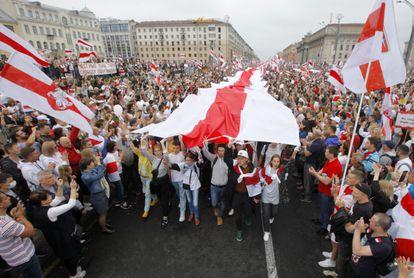 Manifestación por la democracia y contra Alksandr Lukashenko, el pasado 23 de agosto en Minsk.