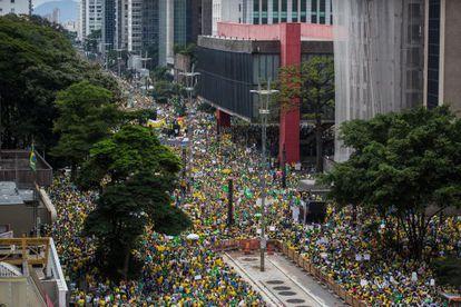 Manifestación por las calles de Sao Paulo.