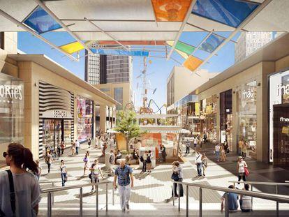 Imagen virtual del centro comercial de Glòries remodelado.