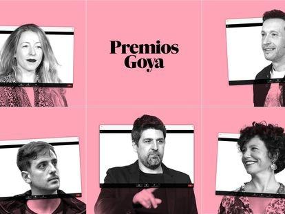 Arriba, los directores Pilar Palomero y Salvador Calvo (derecha). Abajo, desde la izquierda, David Pérez Sañudo, Cesc Gay e Icíar Bollaín.