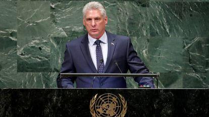El presidente de Cuba, Miguel Díaz-Canel, interviene en la Asamblea General de Naciones Unidas.