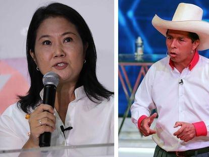 Keiko Fujimori y Pedro Castillo, los candidatos que se disputarán la segunda vuelta presidencial en Perú.