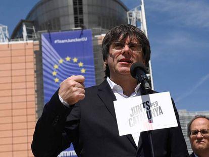 Carles Puigdemont, el pasado 24 de mayo durante una rueda de prensa en Bruselas (Bélgica).