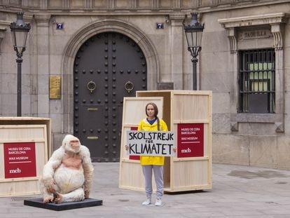 Las figuras de 'Copito de nieve' y Greta Thunberg, a su llegada al Museo de Cera de Barcelona.