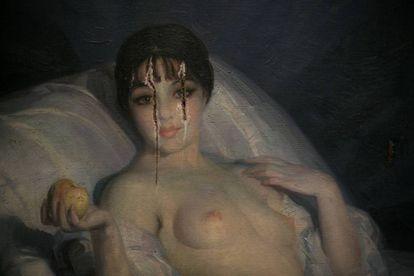 Detalle de la obra 'Eva' de Julio Moises (1925) que fue atacada en 1952 y que puede verse en la exposición del MNAC de Francesc Torres.