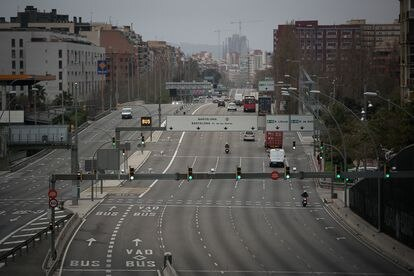 La entrada a Barcelona por la Meridiana, el pasado 16 de marzo.