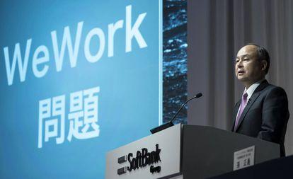 El consejero delegado y presidente de Softbank Group, presenta los resultados del segundo trimestre de 2019 en una rueda de prensa en Tokio, Japón, este miércoles.