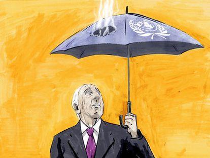 Dibujo de Luis F. Sanz en el que aparece un hombre con un paraguas de la ONU quemado