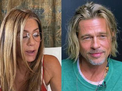 Jennifer Aniston y Brad Pitt, a través de una videoconferencia.