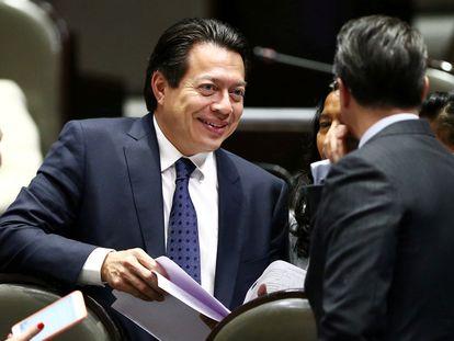 El presidente de Morena, Mario Delgado en el Congreso mexicano.