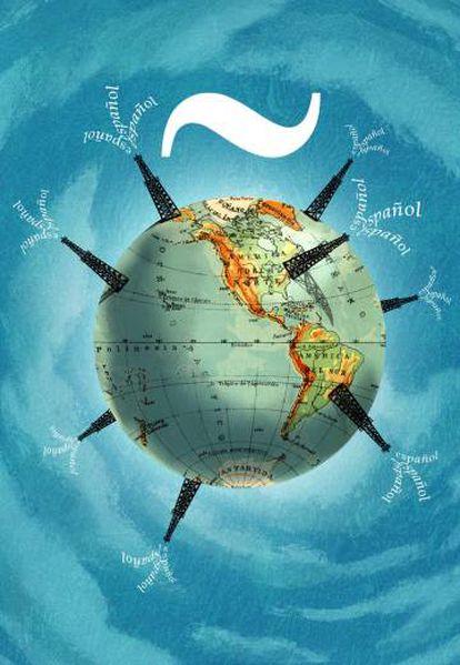 Ilustración sobre el español en el mundo.