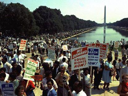 Escena de la Marcha sobre Washington en 1963.