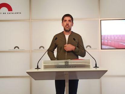 David Cid, portavoz de En Comú Podem, este martes, en unas declaraciones en el Parlament.
