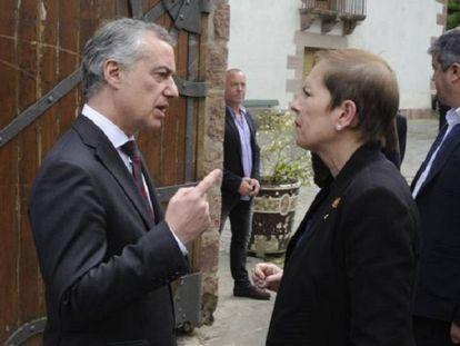 La presidenta de Navarra, Uxue Barkos, y el lehendakari, Iñiigo Urkullu, este viernes. Foto: L. Rico | Vídeo: ATLAS