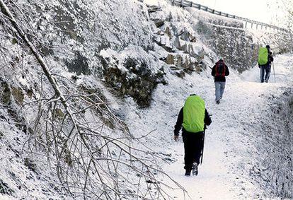Un grupo de peregrinos camina bajo la nieve en Lugo